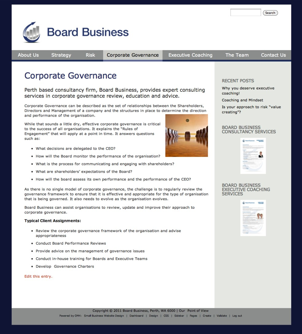A Consulting Business Website For Board Business Om4