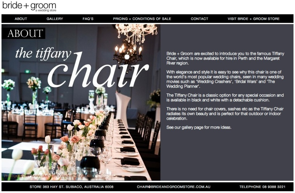 Tiffany Wedding Chair Hire - Bride + Groom Store