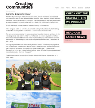 Creating Communities News Article