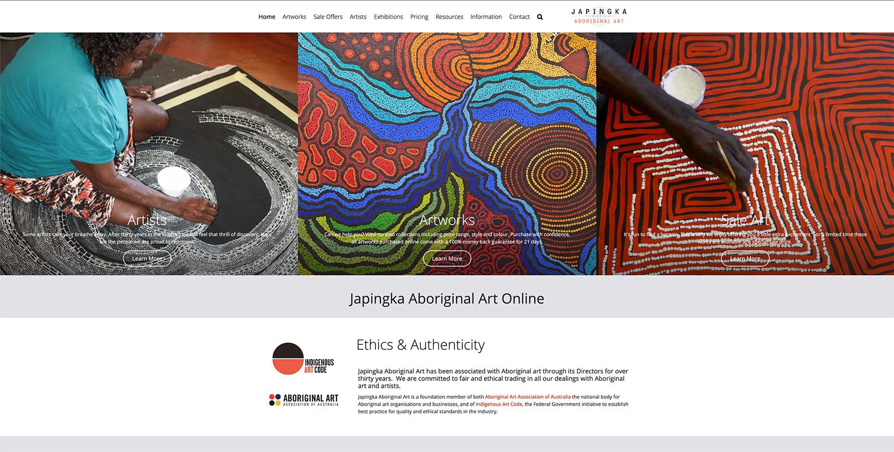 Japingka Aboriginal Art Gallery Website