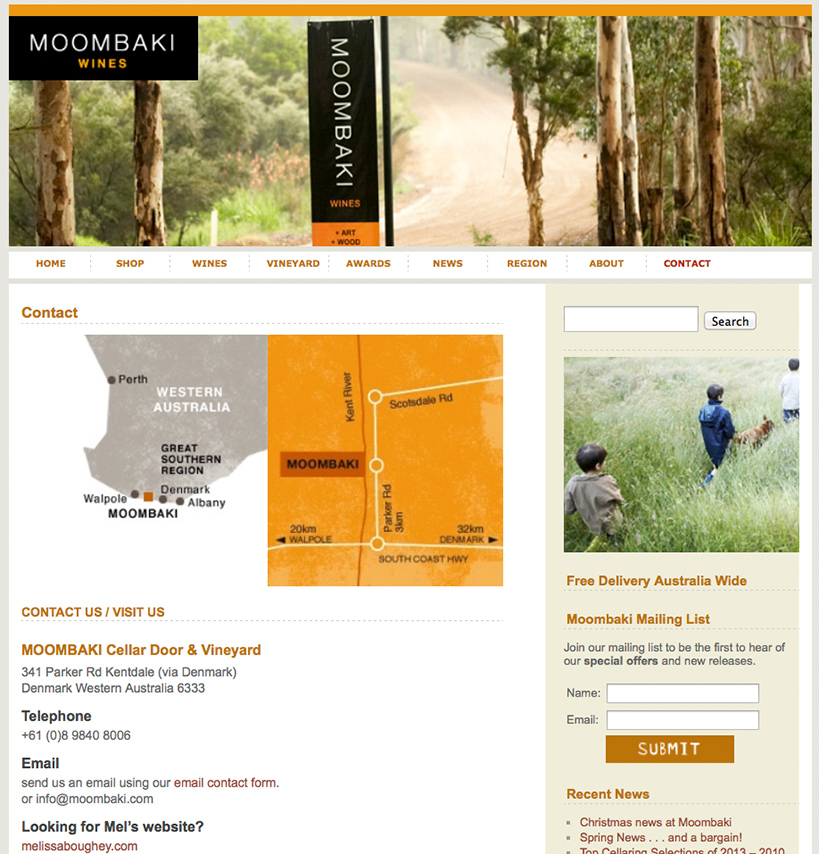 Moombaki Wines Website Home