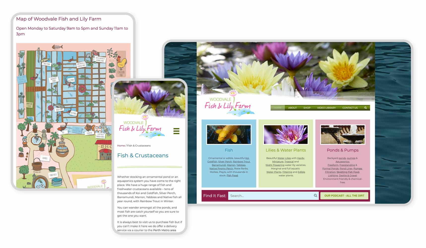 Responsive Graphic Woodvale fish and lily farm