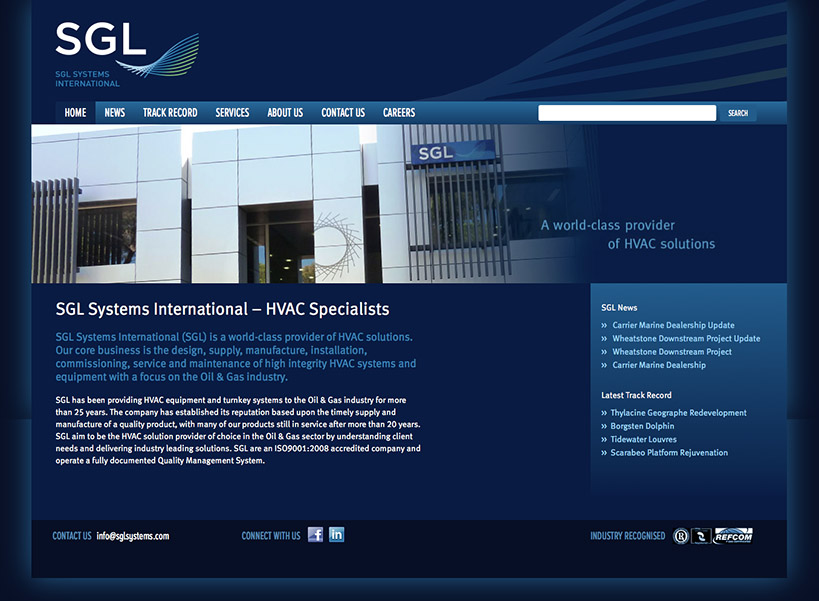 SGL Systems HVAC Engineering Website Home
