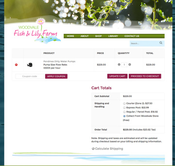 Woodvale Fish and Lily Farm Shipping Options