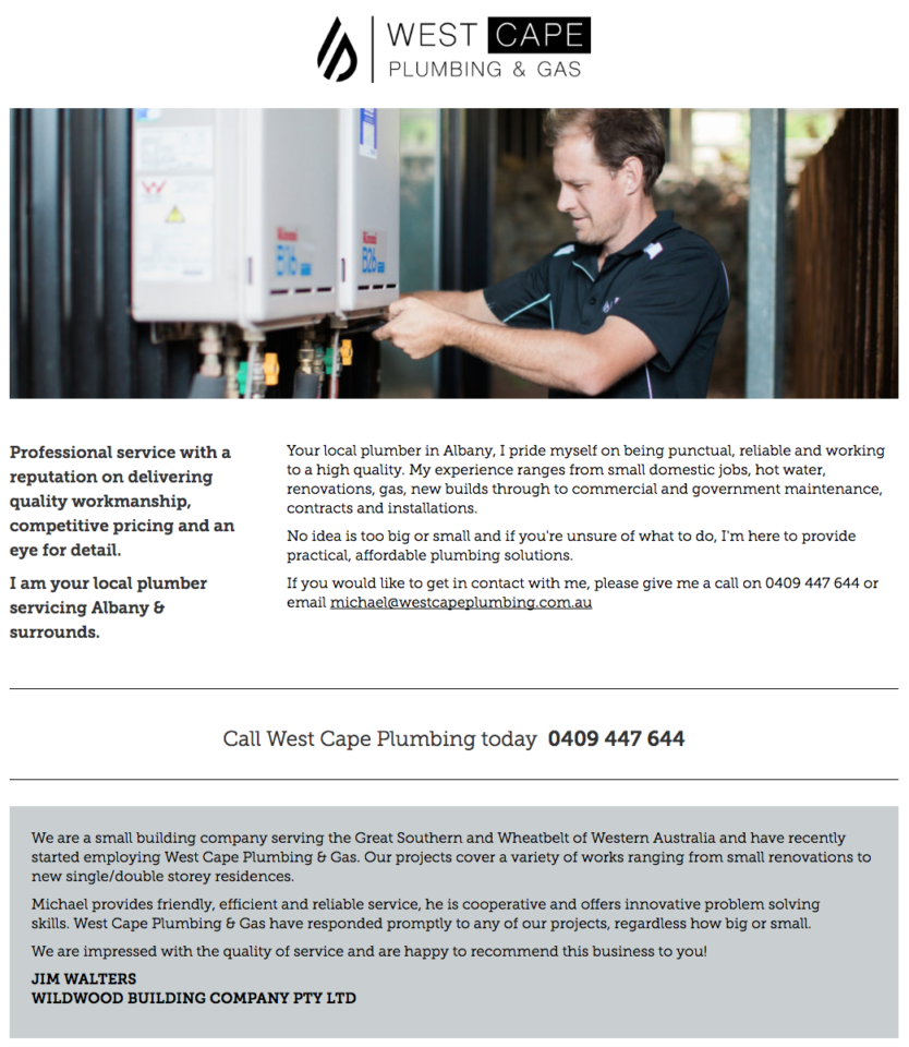 West Cape Plumbing & Gas Albany