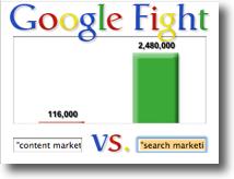 Content Marketing vs Search Marketing - a Google Fight