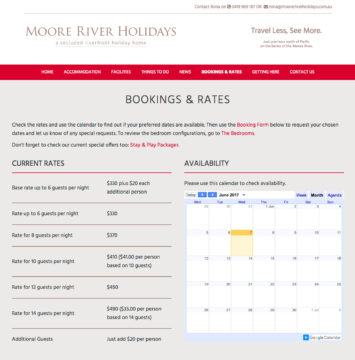 Moore River Holidays Bookings Page