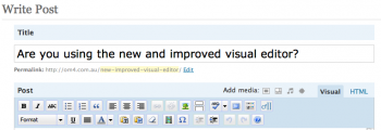 Wordpress New Improved Visual Editor