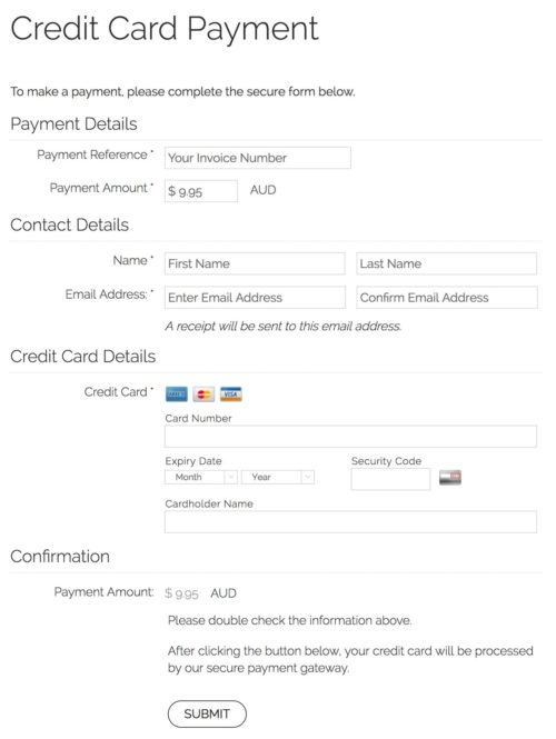 Online Payment Page Example