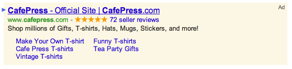 Cafepress Sitelinks