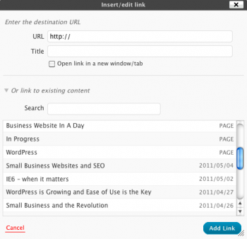 WordPress 3.1 Internal Linking